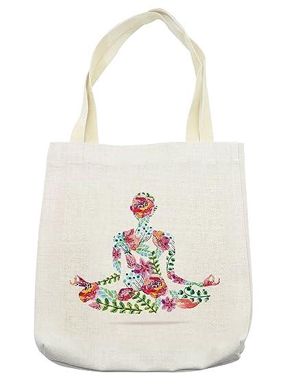 Amazon.com - Lunarable Yoga Tote Bag, Colorful Yoga Pose ...