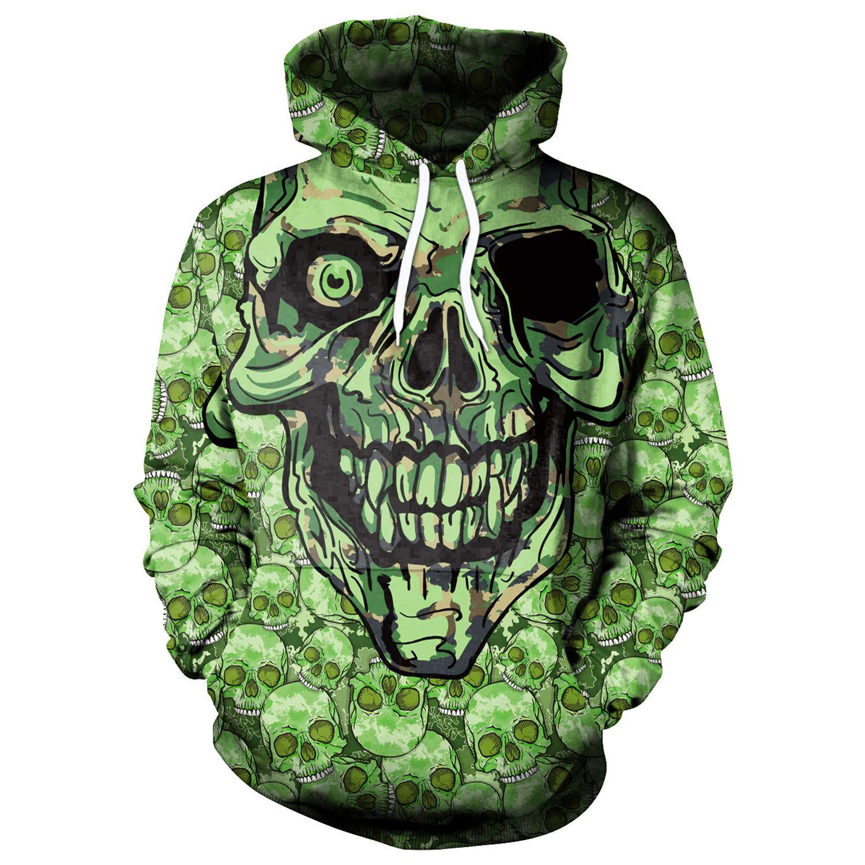 Mrsrui Unisex 3D Digital Printed Hoodies for Men Women Teen Green by Mrsrui