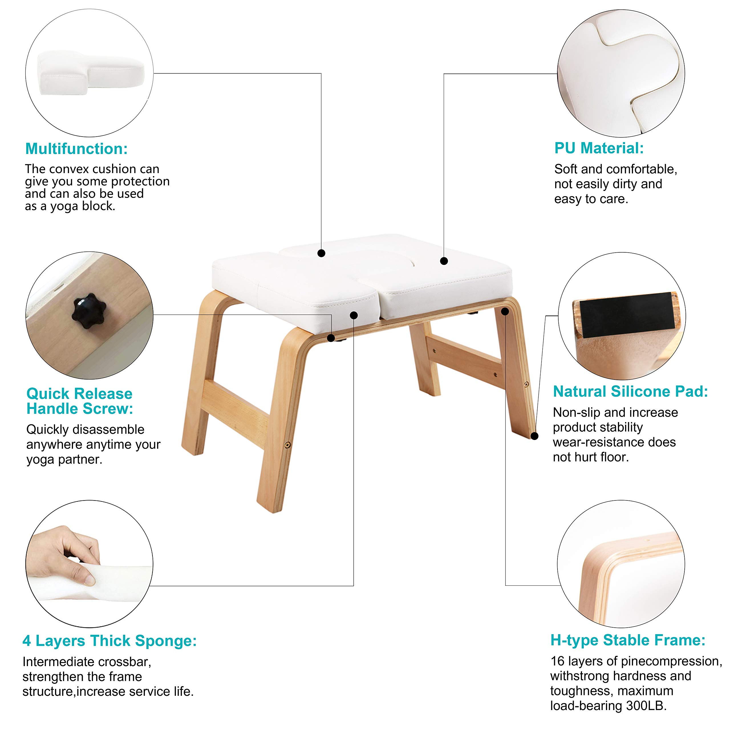 Desire Life Yoga Headstand Bench - Stand Yoga Chair for Family, Gym - Wood and PU Pads - Relieve Fatigue and Build Up Body (White) by Desire Life (Image #4)