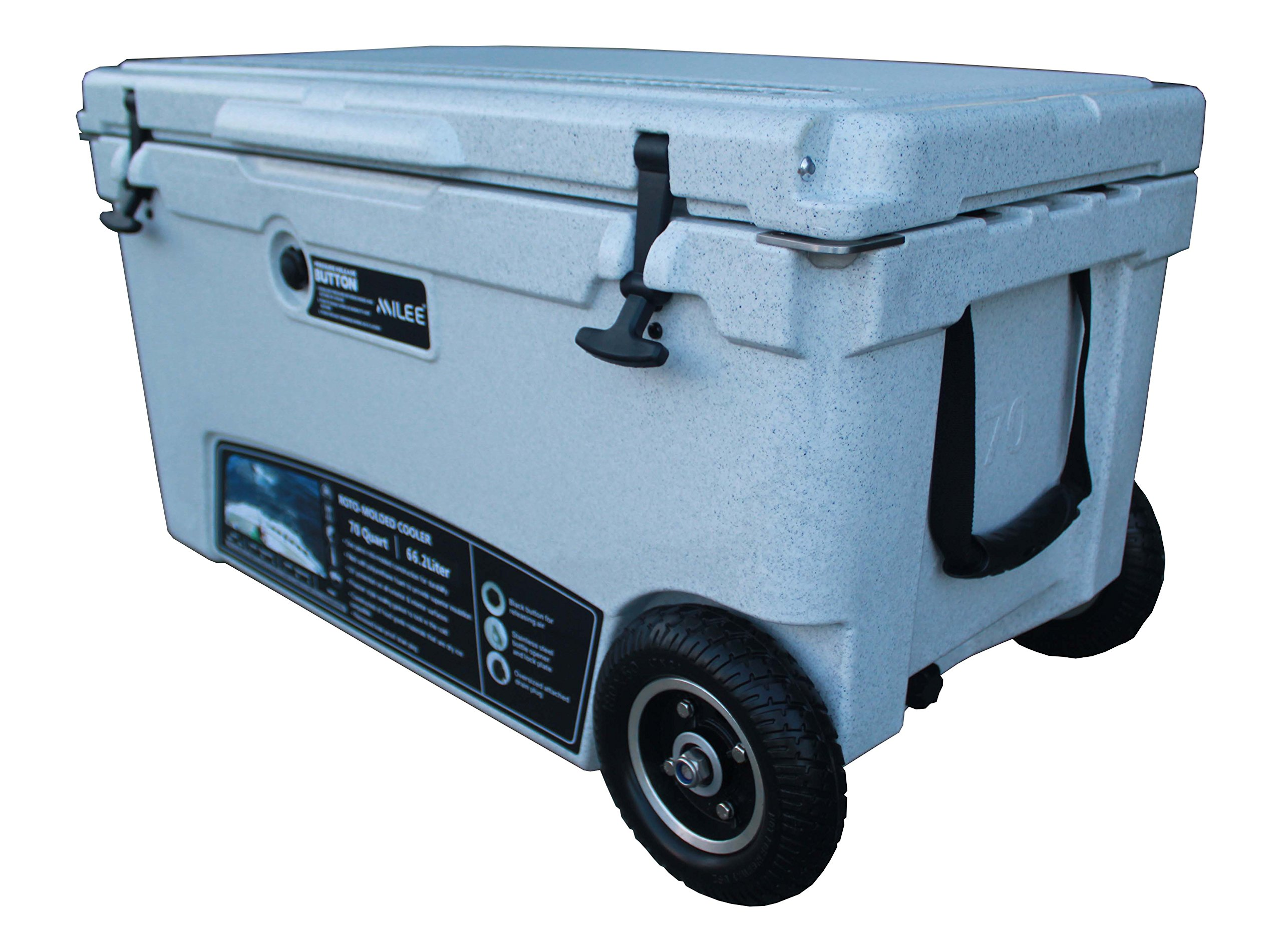 MILEE--Wheeled Cooler 70QT Marble (included $50 accessories) Hanging Wire Basket ,Cooler Divider and Cup Holder are free. by MILEE