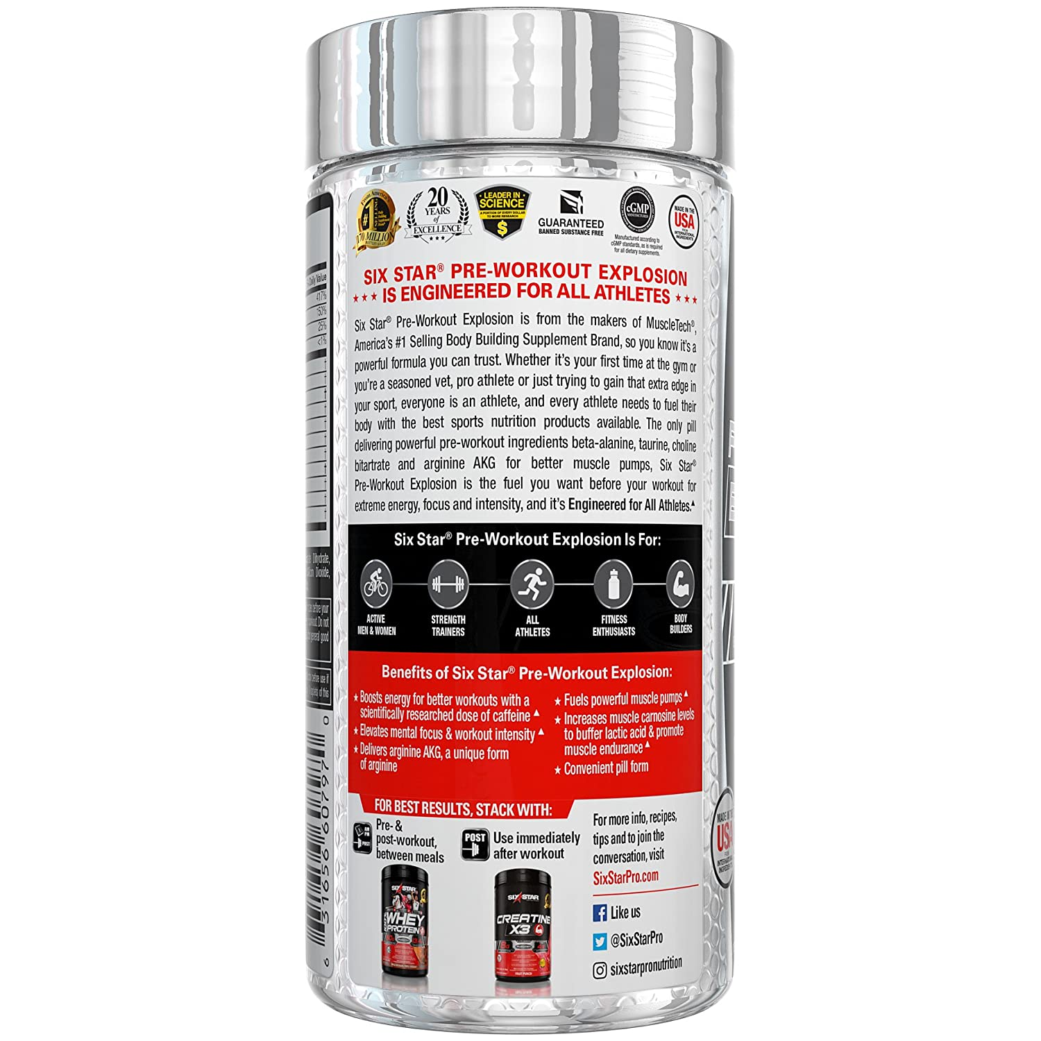 Amazon.com: Six Star Explosion Pre Workout Pills with L-Arginine, Nitric Oxide, Beta Alanine, and Energy, 120 Count: Health & Personal Care