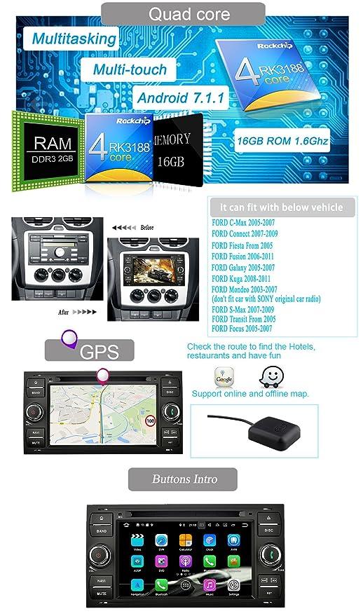 YINUO 7 Pulgadas Doble Din Android 7.1.1 Nougat 2GB RAM Quad Core Pantalla Táctil Estéreo Reproductor De DVD GPS Navegador Multimedia Radio De Coche HD ...