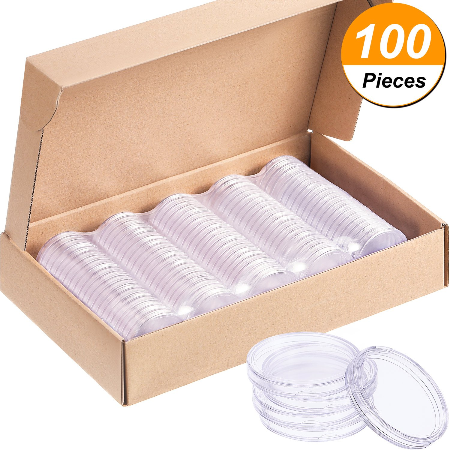Hicarer 100 Pieces Coin Capsules Round Coin Holder Plastic Coin Container Case for Coin Collection Supplies with Paper Box (40 mm)
