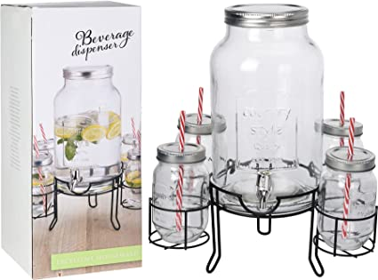 Shine DISPENSADOR DE Bebidas DE Vidrio DE 4.5 L con Soporte + 4x450Ml DISPENSADOR DE Bebidas