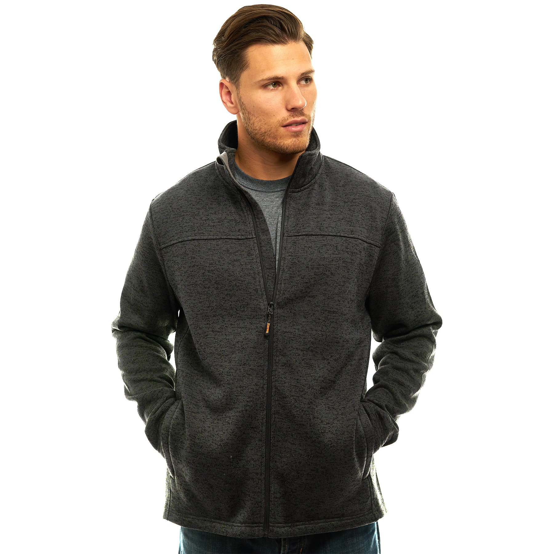 TrailCrest Mens Unique Speckled Zip Up Sweater Fleece-Heather Knit-Winter/Fall Classic Collection Charcoal Heather X-Large