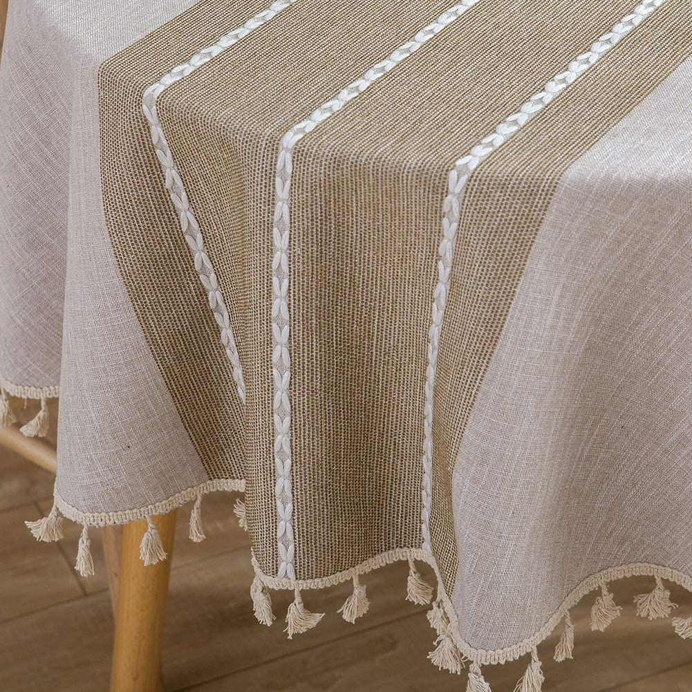 Vedouci Round Table Cloth Wrinkle Free Stitching Tassel Tablecloth Cotton Linen Round Table Cloths Washable Tablecloths for Round Tables for Dining Kitchen (Round,55 inch,Light Brown)