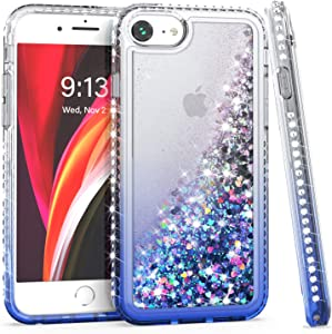 YMSMY Cell Phone Case for iPhone 6, iPhone 7 Glitter Case, iPhone 8 Case, iPhone SE Case, Diamond Shiny Liquid Stylish Practical Protective Cover for iPhone SE 2020 (Clear/Blue)