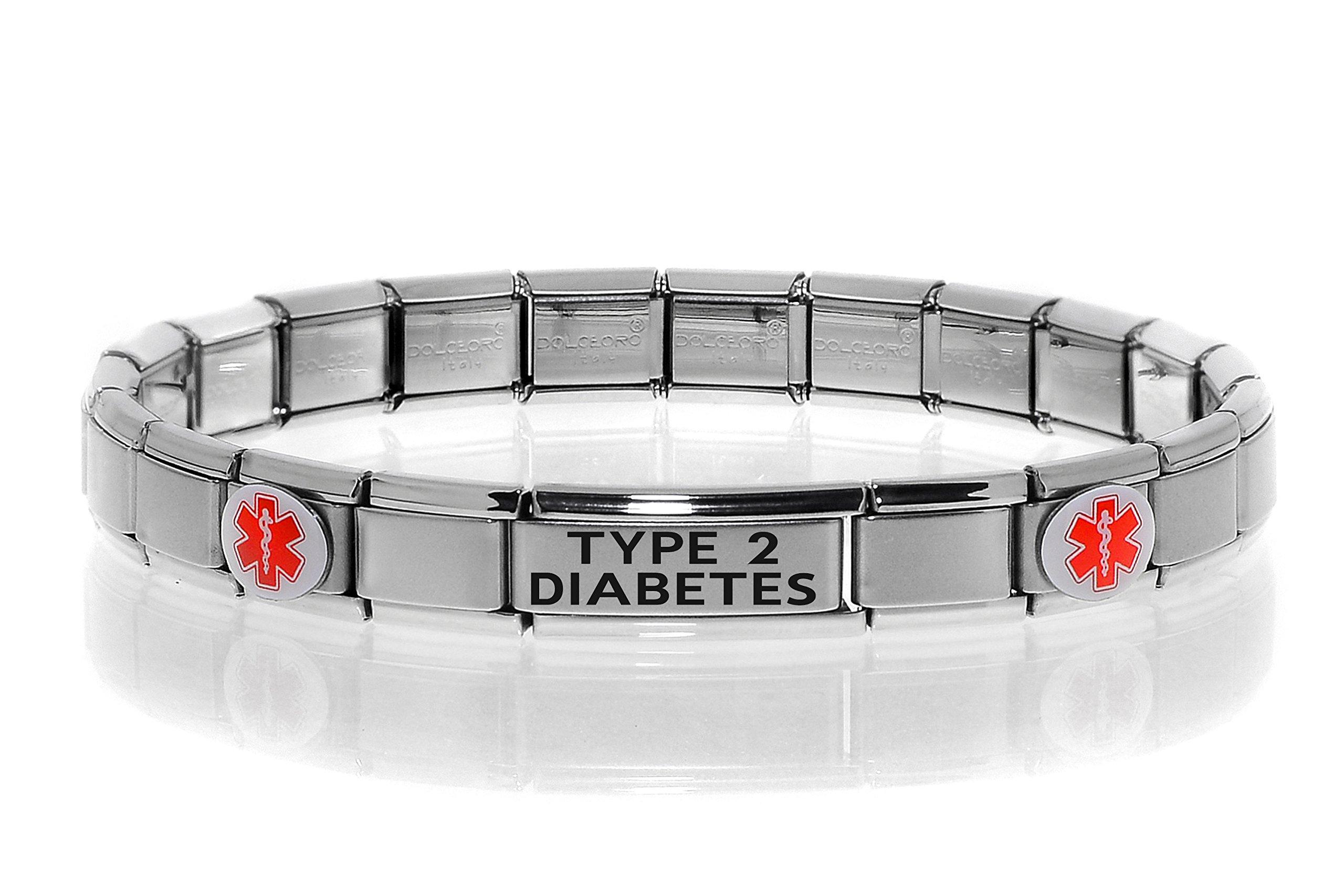 Dolceoro Type 2 Diabetes Medical Alert Bracelet - Stainless Steel Stretchable Italian Style Modular Charm Links