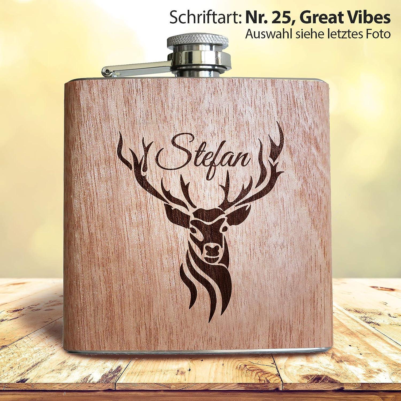 Flasque en bois personnalisable avec t/ête de cerfId/ée de cadeau pour chasseur pour homme.