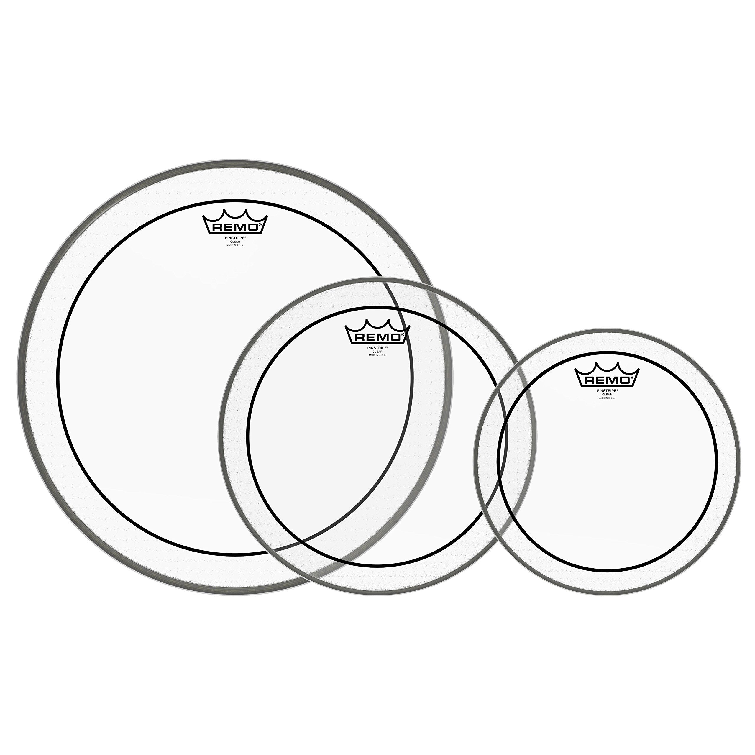 Remo PP-1470-PS Pinstripe Clear Tom Drumhead Pack - 10'', 12'' & 16''