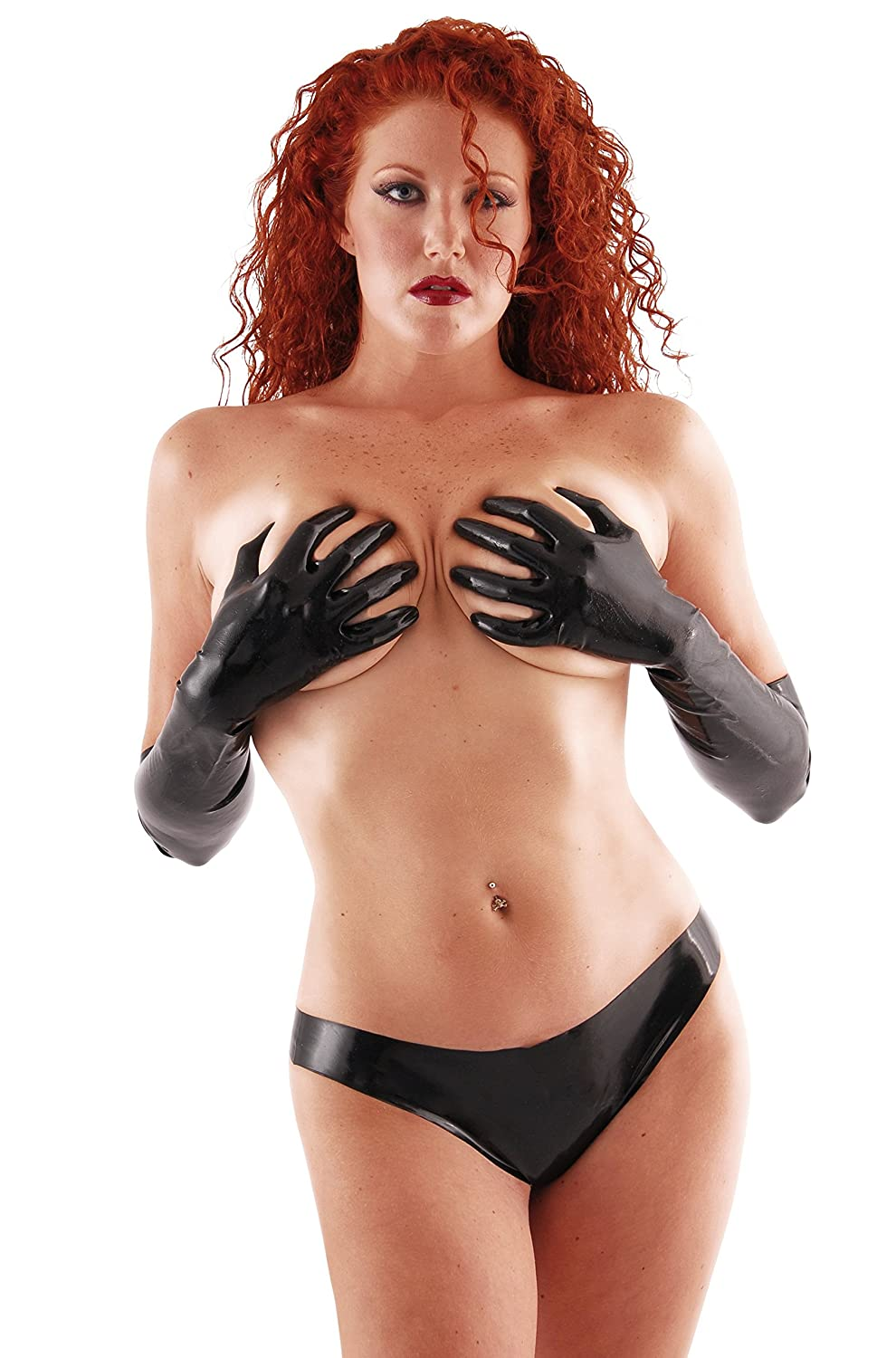 Chlorinated Latex Mid Gloves (Elbow Length) Fetish - Black