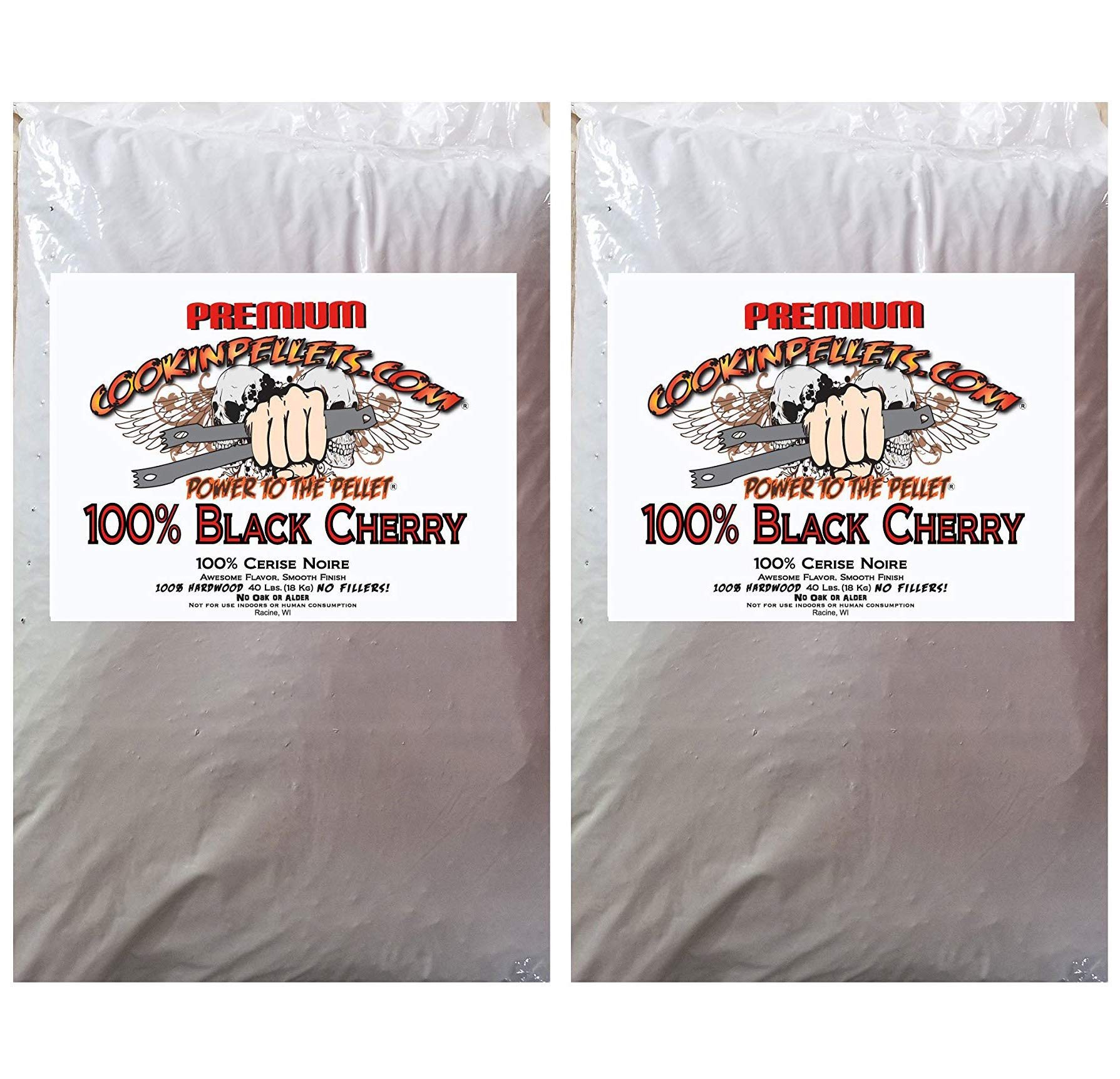 CookinPellets CPBC40lb 100% Black Cherry Pellets Cooking, Brown (2-(Pack))