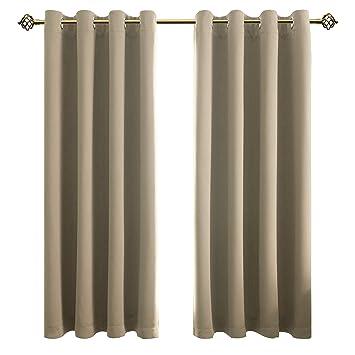 Schon FLOWEROOM Blickdichte Gardinen Verdunkelungsvorhang   Lichtundurchlässige  Vorhang Mit Ösen Für Schlafzimmer Geräuschreduzierung Beige 175x140cm(HxB