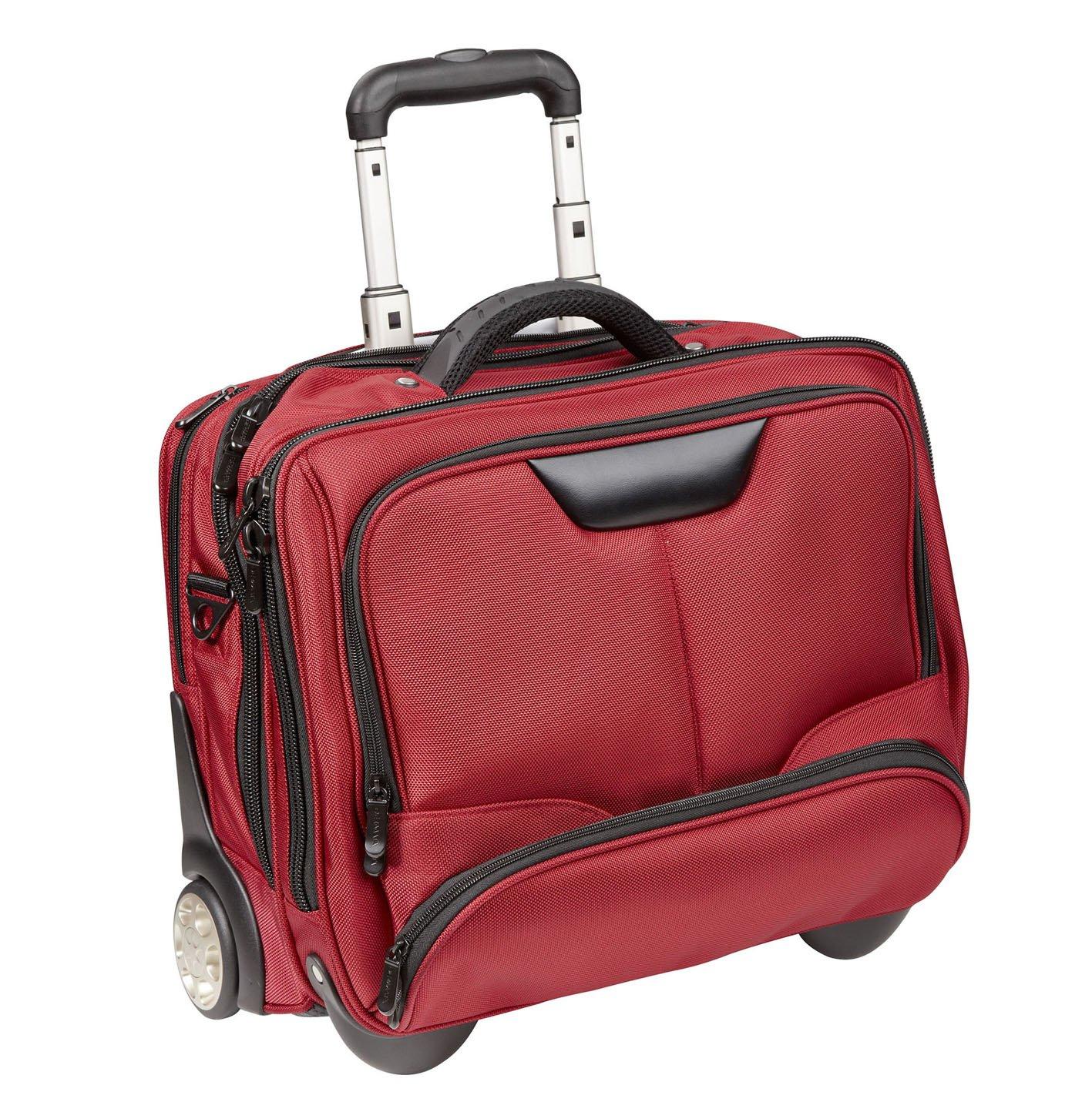 Sac Housse de Transport pour Ordinateur portable en nylon 17Valise à roulettes pilotes Rouleau Rouge Dermata