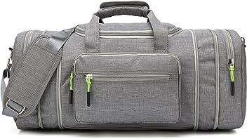 10da075c3f Kenox Oversized Canvas Travel Tote Luggage Weekend Duffel Bag (Greyfabric)