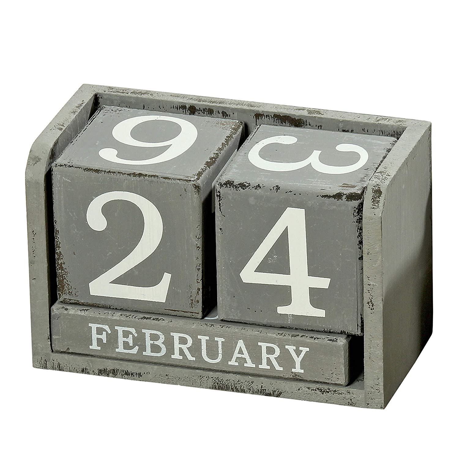 Modernist Perpetual Wood Cube Calendar, Desktop Accessory, White Numerals, Shabby Style, Rustic Gray Finish Over Black Stain, 5 Piece Set, MDF, 5 1/2 L x 2 3/4 W x 3 1/2 H Inches