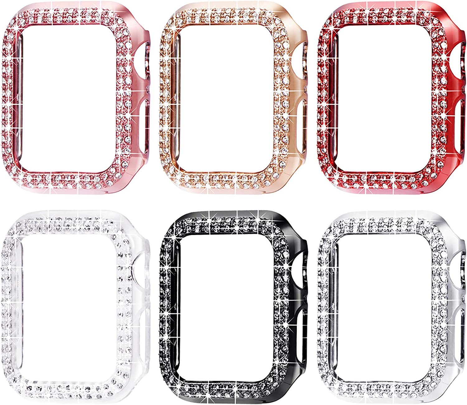 Surace 42mm Case Compatible with Apple Watch Case, Bling Frame Protective Case Compatible for iWatch Series 5 Series 4 (6 Packs, Rose Gold/Pink Gold/Red/Black/Silver/Clear-42mm