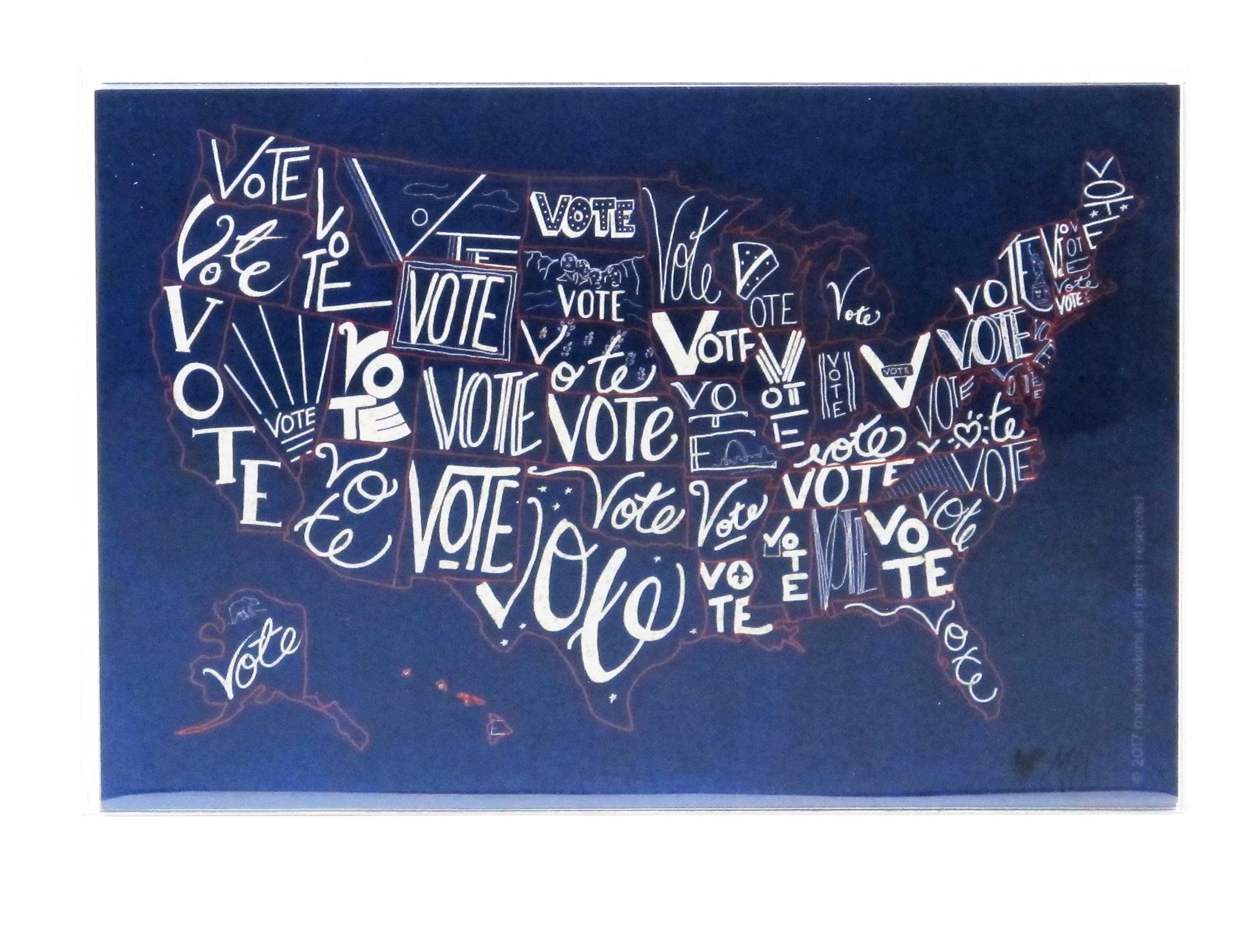 ''Vote USA'' postcards. Postcards with a map of the United States, perfect for writing politicians or get-out-the-vote campaigns (60) by Mary Likes Postcards (Image #2)