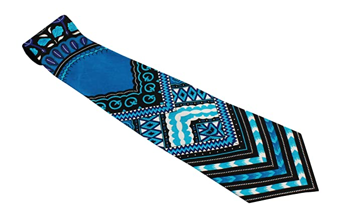 RaanPahMuang Branded Handmade Bold African Dashiki Printed Cotton Necktie Tie, Arrow - Black on Blue