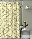 Grey Lemon Yellow Fabric Shower Curtain: Modern Floral Moroccan Design
