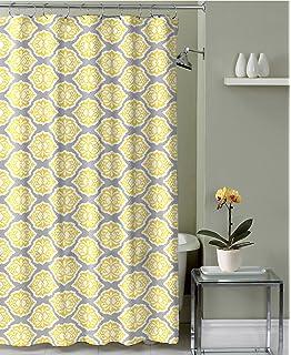 Grey Lemon Yellow Fabric Shower Curtain Modern Floral Moroccan Design