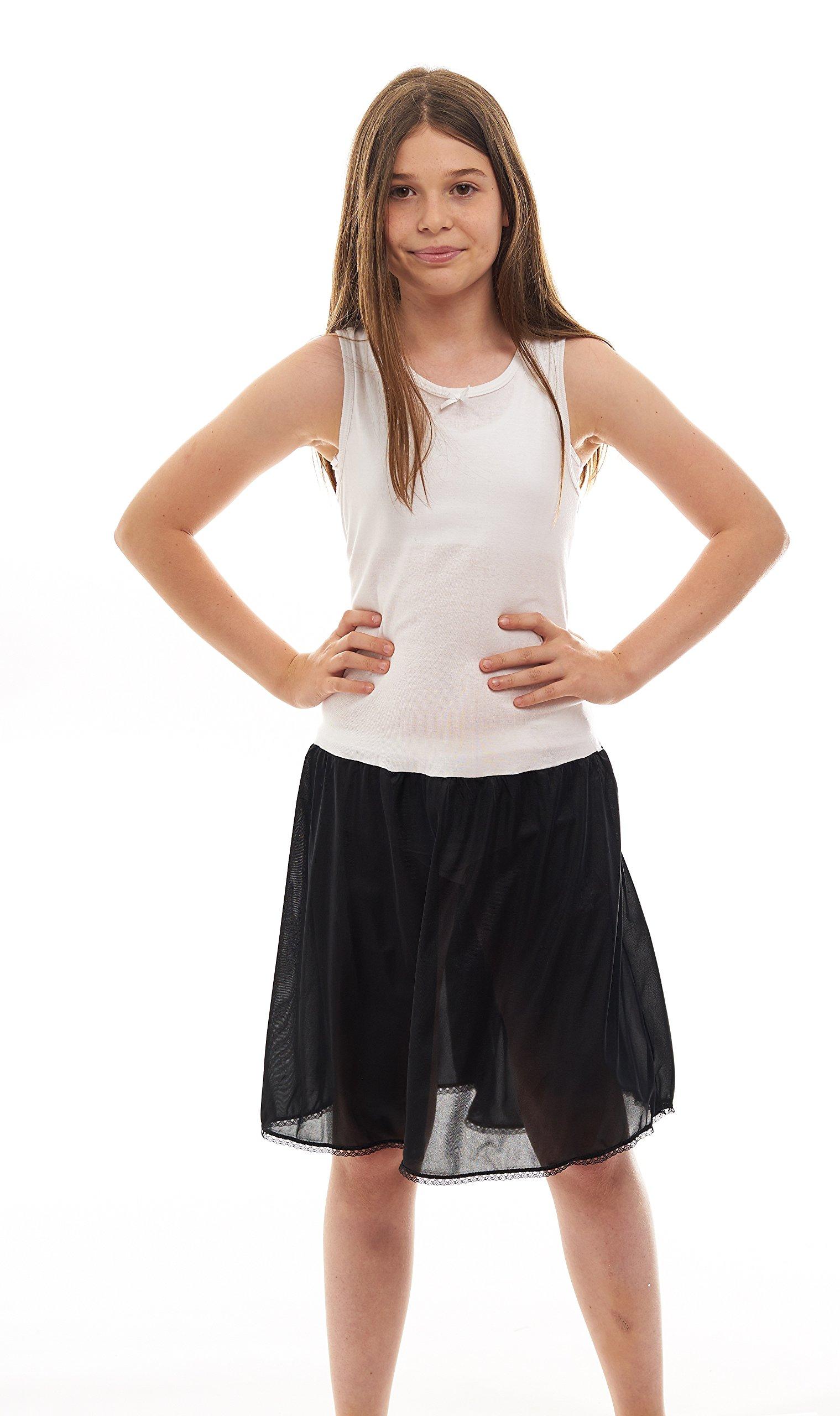 Rossette Sleeveless Full Slip for Girls   Cling Free  Cotton / Nylon Material,White/ Black,8