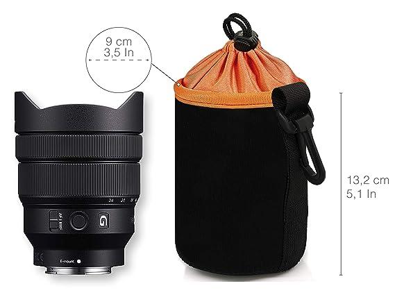 Schwarz mit Fleece F/ütterung MyGadget Objektivtasche Neopren Sony L Objektivbeutel Schutztasche wasserabweisend f/ür Kamera Objektive z.B Canon