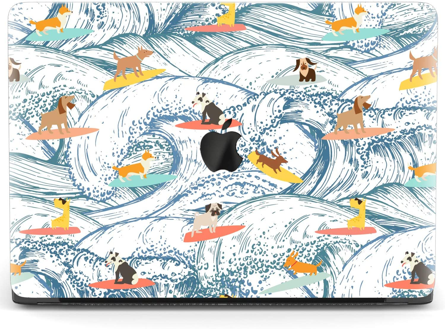 Mertak Hard Case for Apple MacBook Pro 16 Air 13 inch Mac 15 Retina 12 11 2020 2019 2018 2017 Cute Funky Laptop Clear Ocean Breeds Protective Surfing Dogs Shell Puppy Plastic Cover Waves Touch Bar