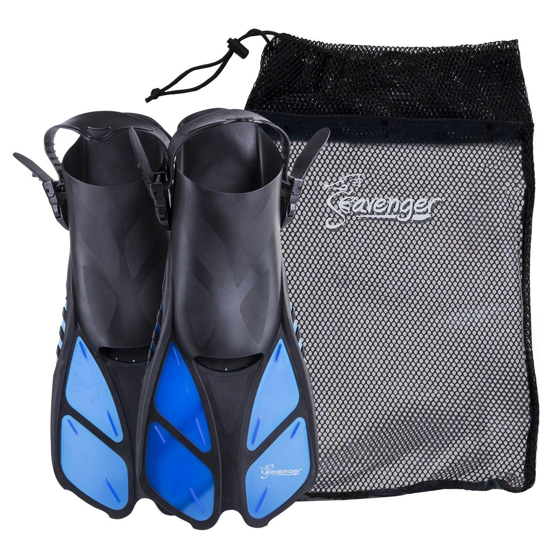 Seavenger Torpedo Swim Fins | Travel Size | Snorkeling Flippers with Mesh Bag for Women, Men and Kids (Blue, L/XL) by Seavenger