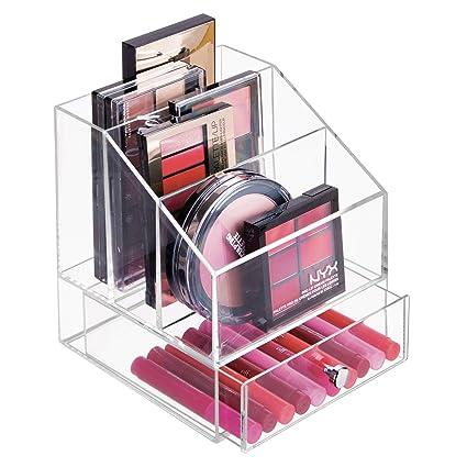 mDesign Organizador de maquillaje ? Caja transparente con 3 compartimentos y un cajón - Ideal para