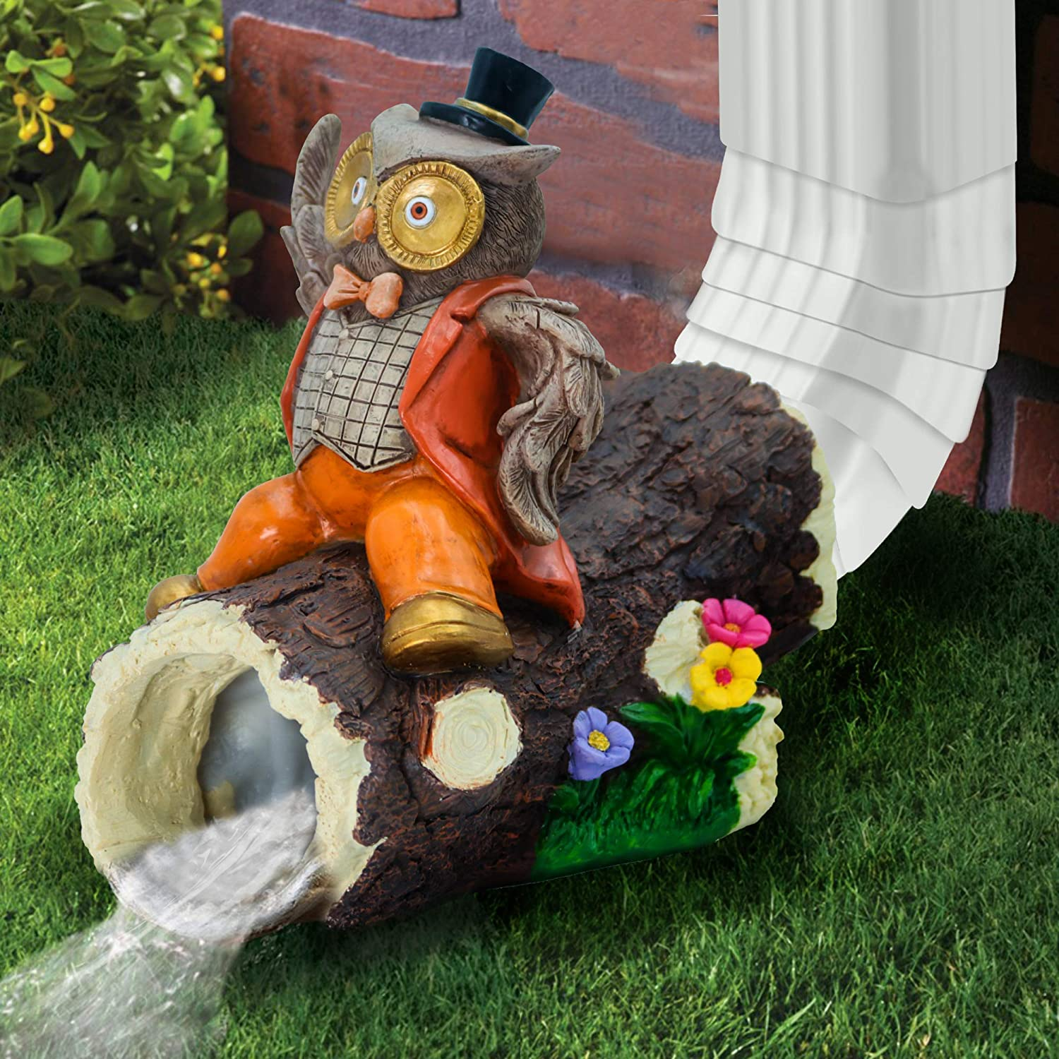 Zacotaco Cute and Playful Mr.Owl Gutter Guardian Rain Downspout Extension Statue