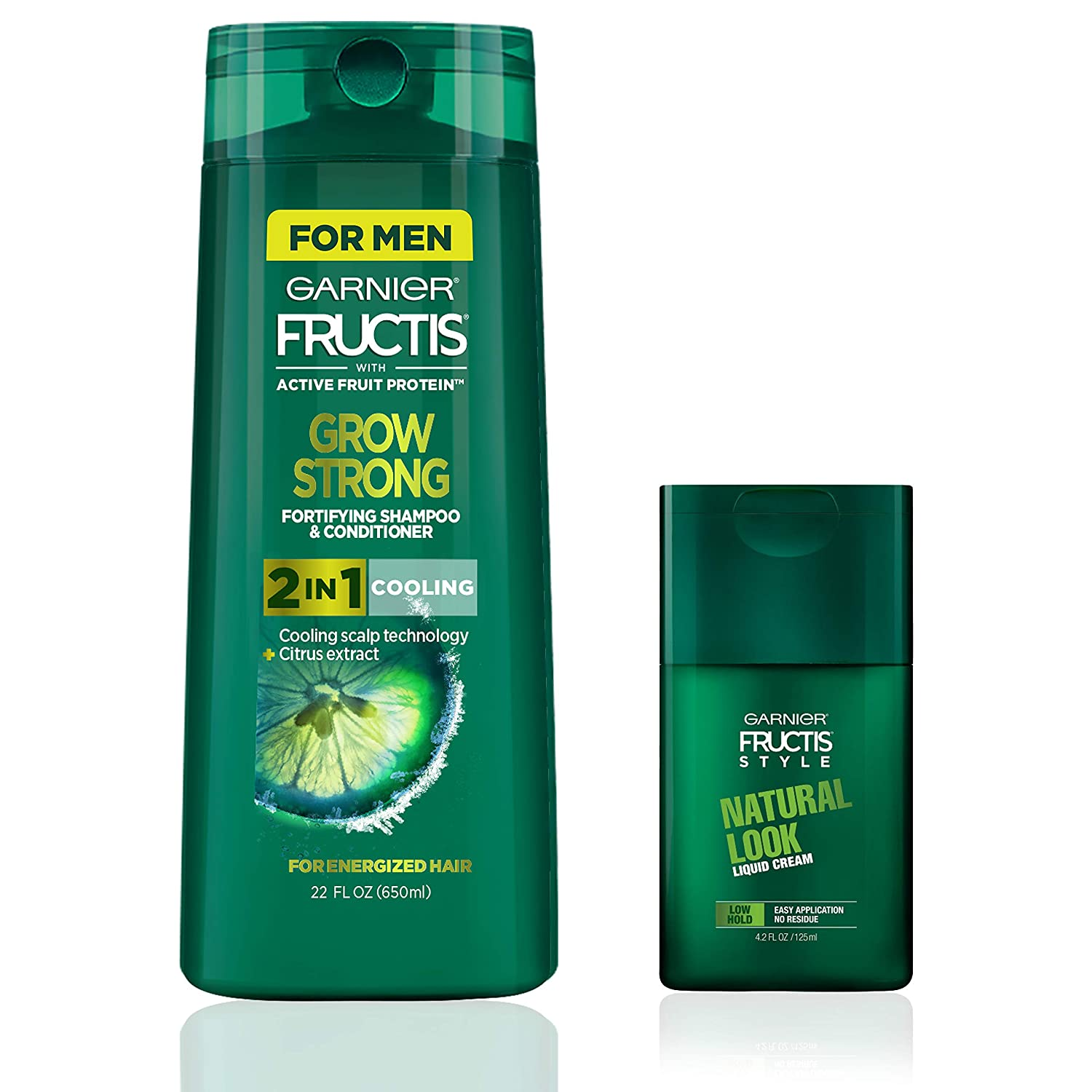 Garnier Hair Care Fructis Men's Grow Strong Cooling 2N1 Shampoo and Conditioner with Cooling Scalp Technology, Natural Look Liquid Hair Cream for Men, Low Hold with No Wax, 1 Kit