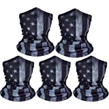 ZeeDix 5 Pcs American Flag Outdoor Bandana Face Mask- Microfiber Multifunctional Seamless Headwear, UV Protection Face…