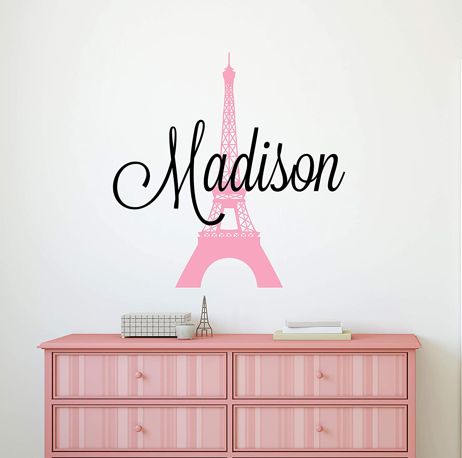"Custom Name Paris Wall Decal - Girls Personalized Name Eiffel Tower Wall Decor - Girls Name Sign Stencil Monogram Bedroom Room Wall Art Mural Vinyl Sticker (34""W x 34""H)"