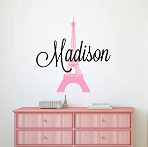 Custom Name Paris Wall Decal - Girls Personalized Name Eiffel Tower Wall Decor - Girls Name Sign Stencil Monogram Bedroom Room Wall Art Mural Vinyl Sticker (22