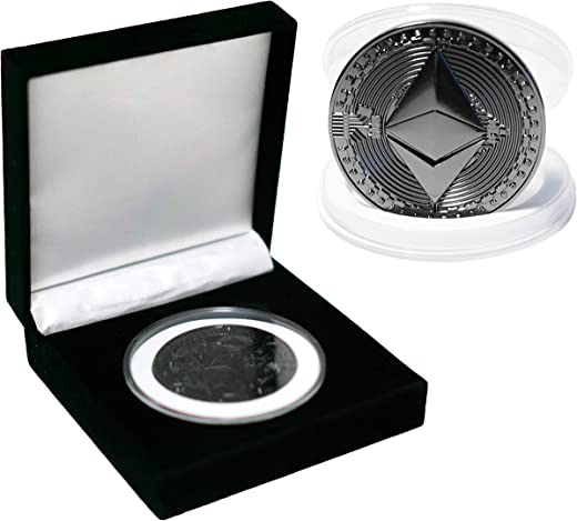 2021 Black Ethereum 2.0 Collectible Commemorative Coin with Luxury Velvet Case | ETH 2.0 Cryptocurrency Novelty Coin [Upgraded Packaging]
