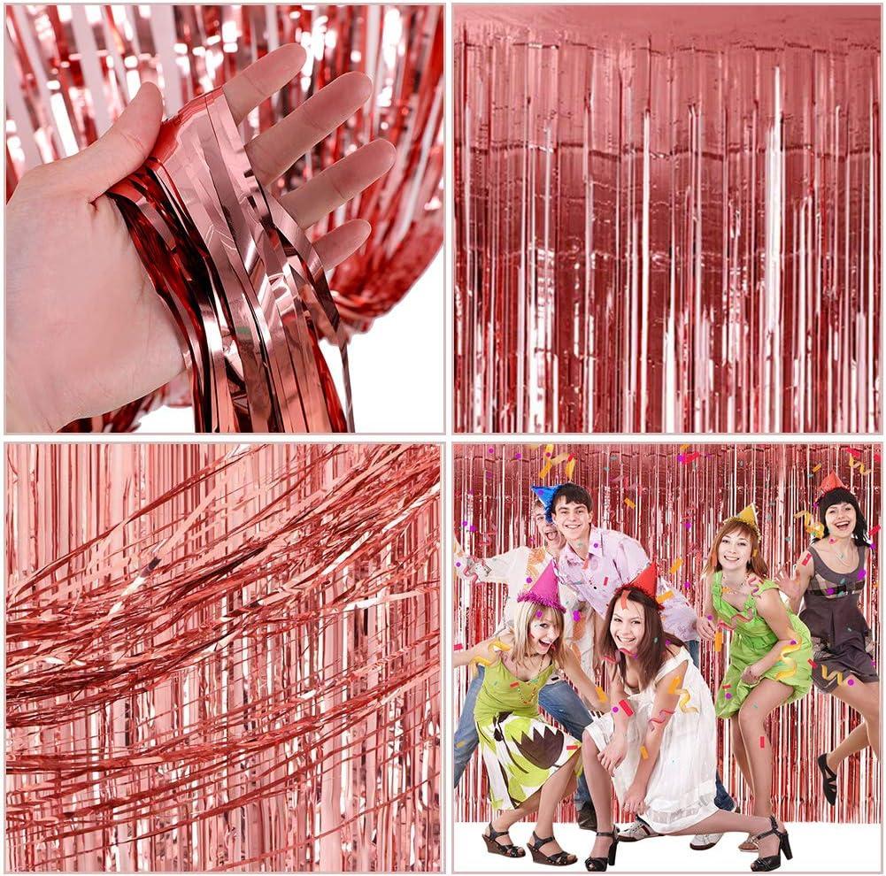 Cortina Brillante Cortina,BESLIME Oro Rosa Cortina de Oropel MetálicaFoil Fringe Curtain Shimmer Puerta Windows Decoraciones para fiesta, 3 Piezas: Amazon.es: Hogar