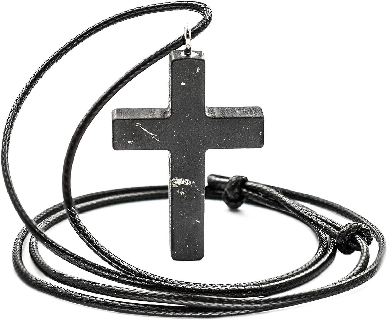 5G EMF Protect Shungite Orgonite Cross Pendant with Quartz neg to Pos Energy