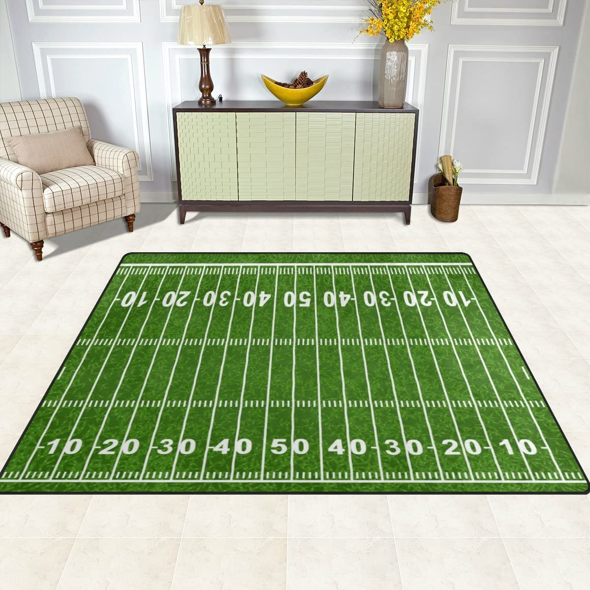 Cooper Girl American Football Field Kids Area Rug Learning Carpet
