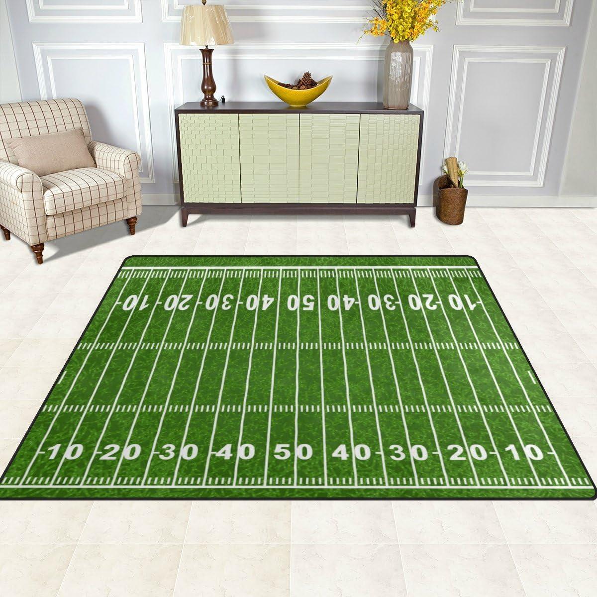 Cooper Girl American Football Field Kids Area Rug Learning Carpet