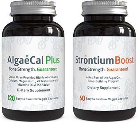 AlgaeCal Bone Builder Pack – Plant-Based Calcium Supplement with Magnesium, Boron, Vitamin K2 + D3 | Includes Strontium Boost | Naturally Increase Bone Density (1 Month Supply)