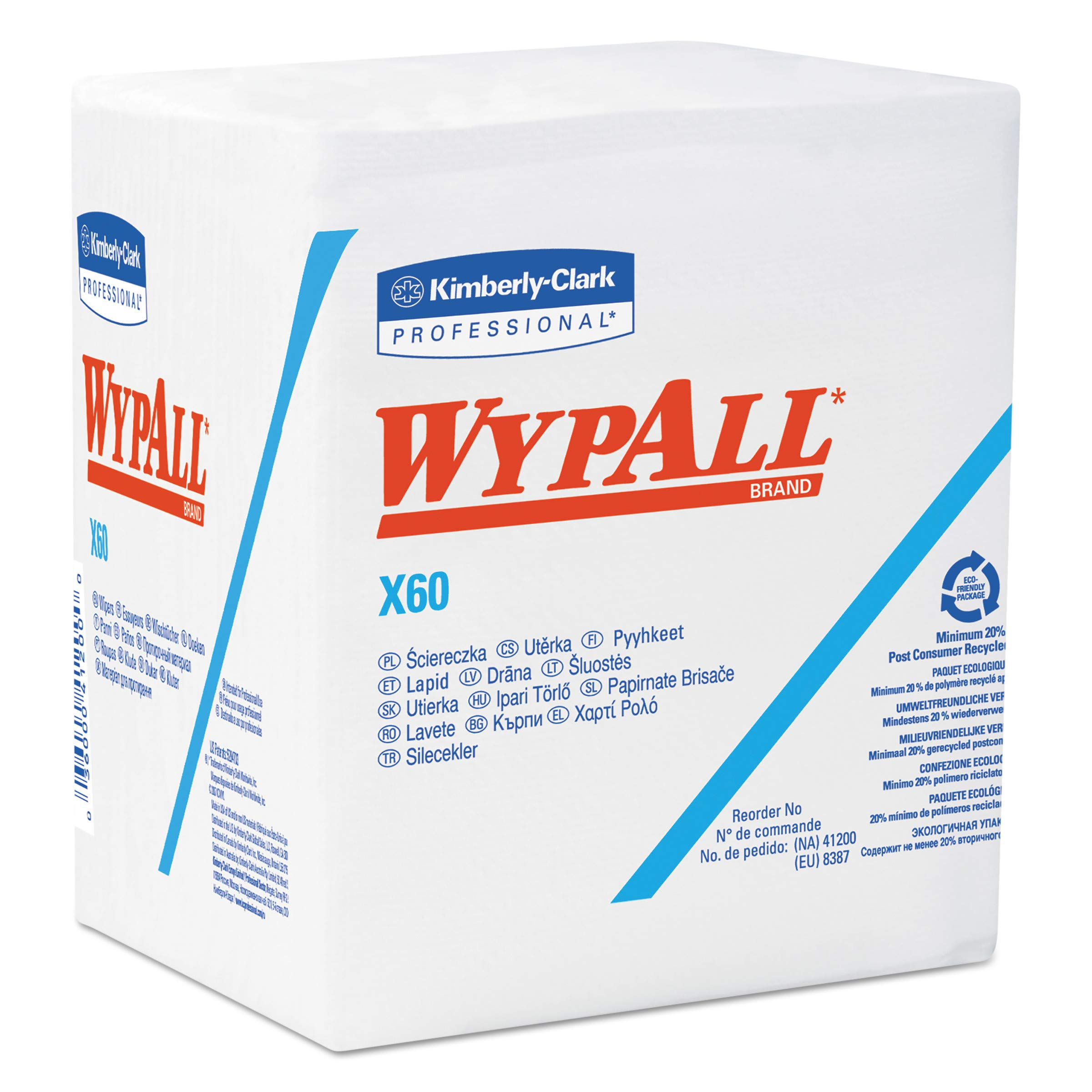 WypAll 34865 X60 Cloths, 1/4 Fold, 12 1/2 x 13, White, 76 per Box (Case of 12 Boxes) by Wypall