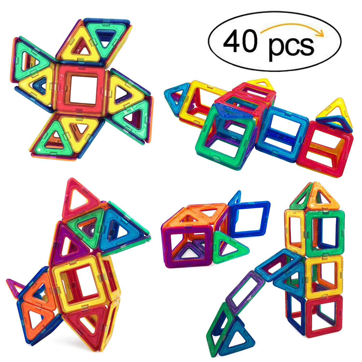 Gepege Magnetic Tiles Building Blocks Toys for Kids, 40 Pcs Preschool Kids Educational Construction Magnet Toys Sets by Gepege