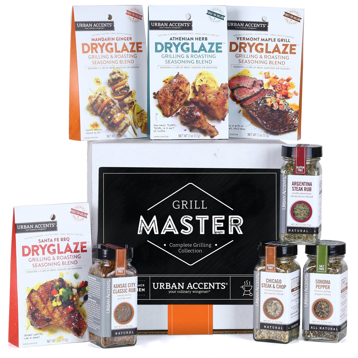 Urban Accents GRILL MASTER, The Complete Gourmet Grilling Collection (Set of 8) - A Dryglaze, Grilling Spices and Rubs Gift Set. Perfect for Weddings, Housewarmings or Any Occasion.
