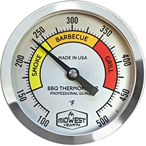 "Midwest Hearth BBQ Smoker Thermometer for Barbecue Grill, Pit, Barrel 3"" Dial (4"" Stem Length, Color Dial)"