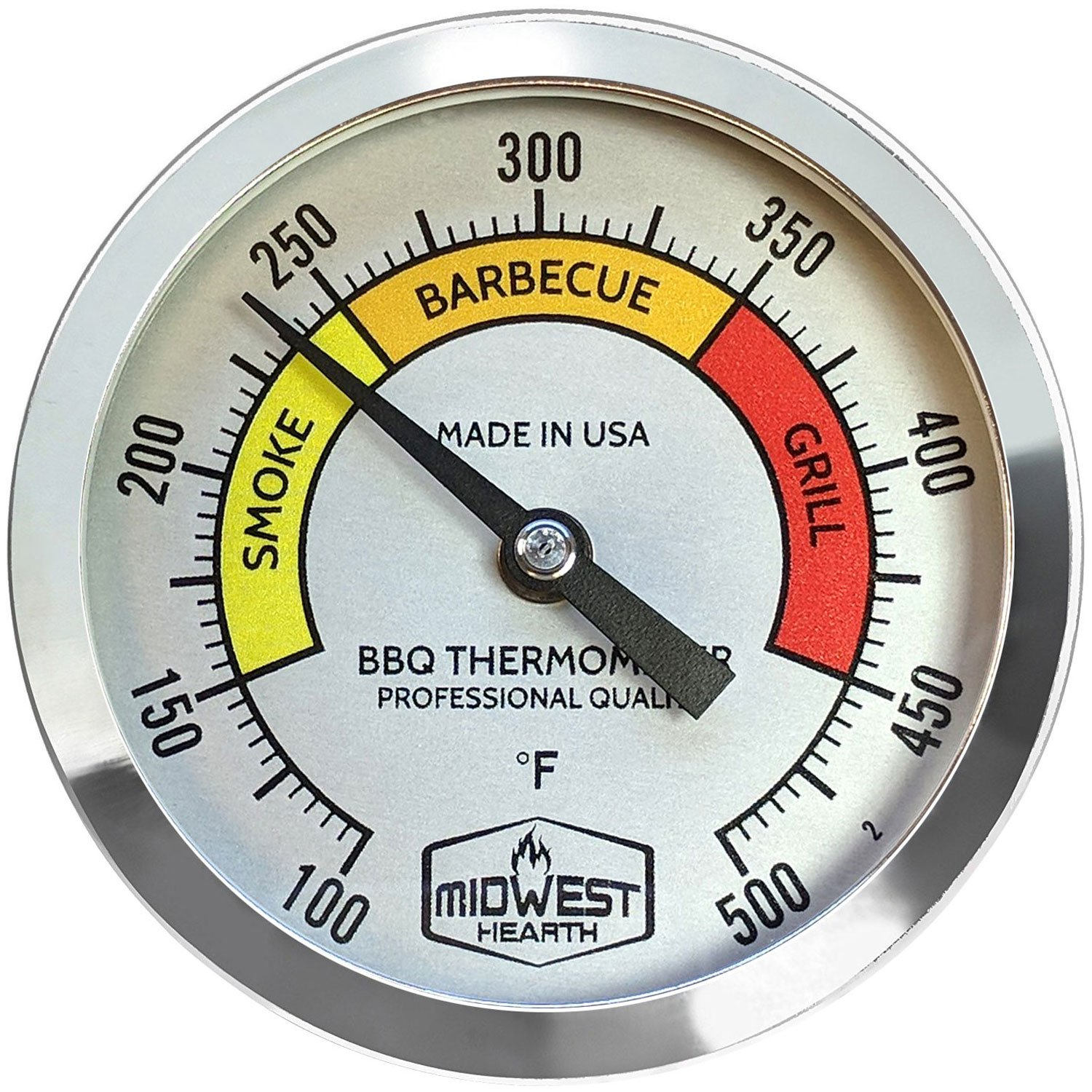 Midwest Hearth BBQ Smoker Thermometer for Barbecue Grill, Pit, Barrel 3'' Dial (4'' Stem Length, Color Dial) by Midwest Hearth