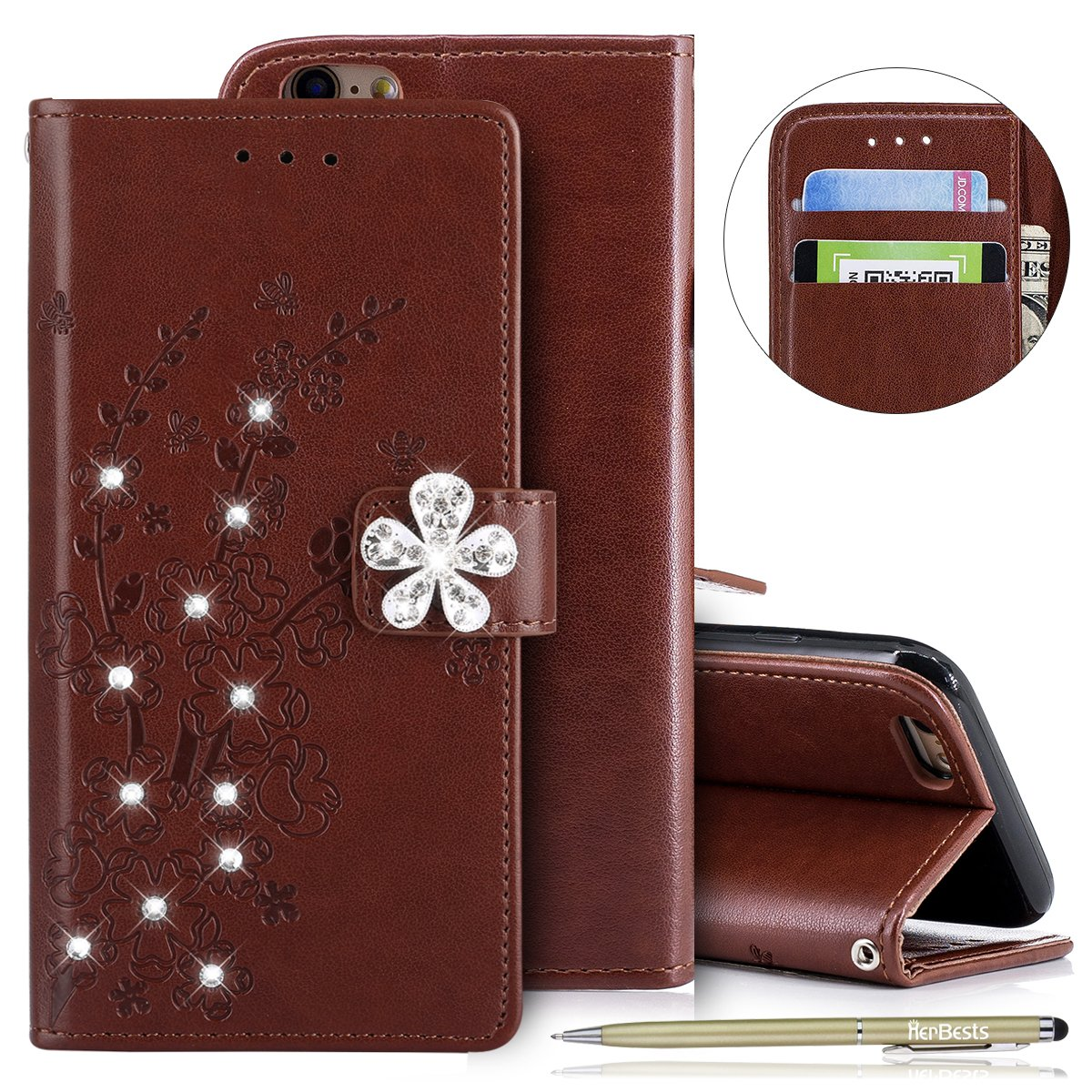 Herbests Compatible with iPhone 6S 4.7 Wallet Case Glitter Diamond Bling Rhinestone Leather Cover Flip Cases 3D Flower Butterfly Embossed Cute Slim Shockproof Phone Cover Stand,Rose Gold