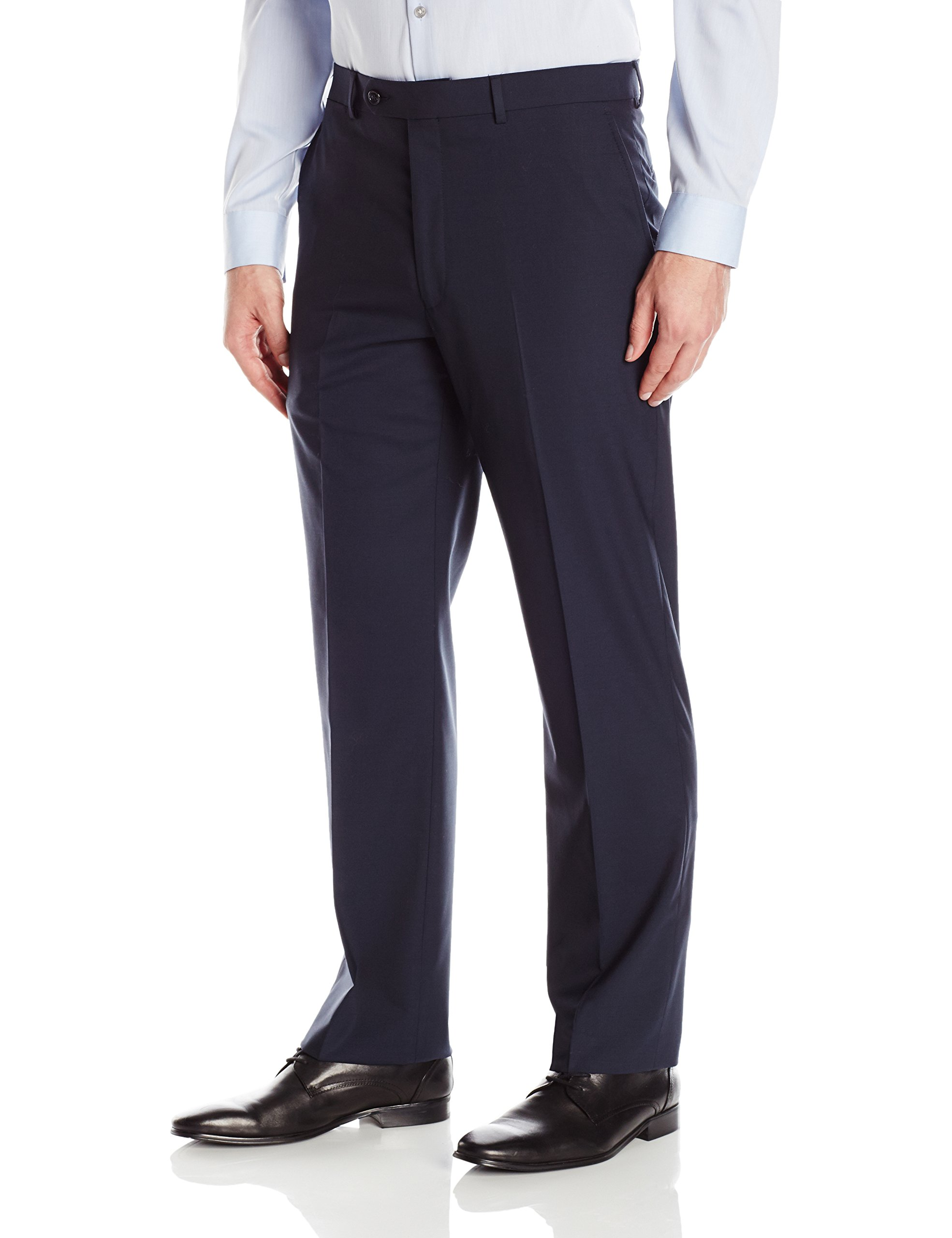 Hart Schaffner Marx Men's Chicago Fit Flat Front Dress Pant, Dark Blue, 38 Long by Hart Schaffner Marx