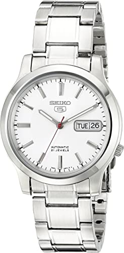Amazon Com Seiko Men S Snk789 Seiko 5 Automatic Stainless Steel Watch With White Dial Watches