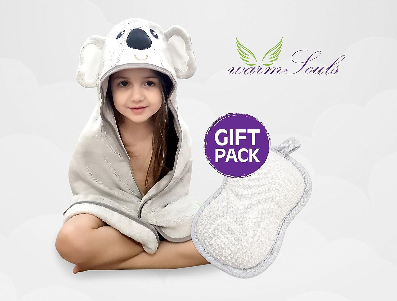 Baby Ba/ño Set,100/% ORG/ÁNICO de bamb/ú toalla con capucha dise/ño koala+100/% NATURAL esponja de fibra de planta PREMIUM CALIDAD 600 G//m/²,para piel sensible,tama/ño grande,para Ni/ños y Ni/ñas Set de reg